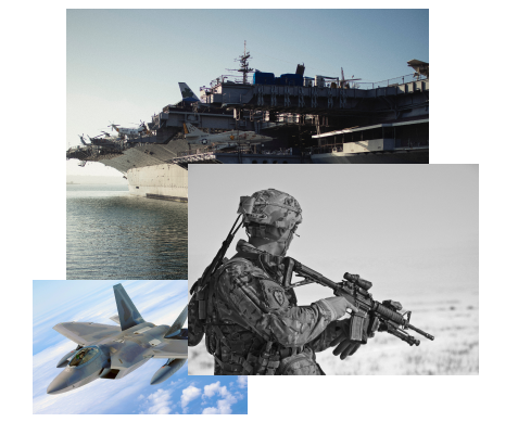 images of soldier, fighter jet, aircraft carrier