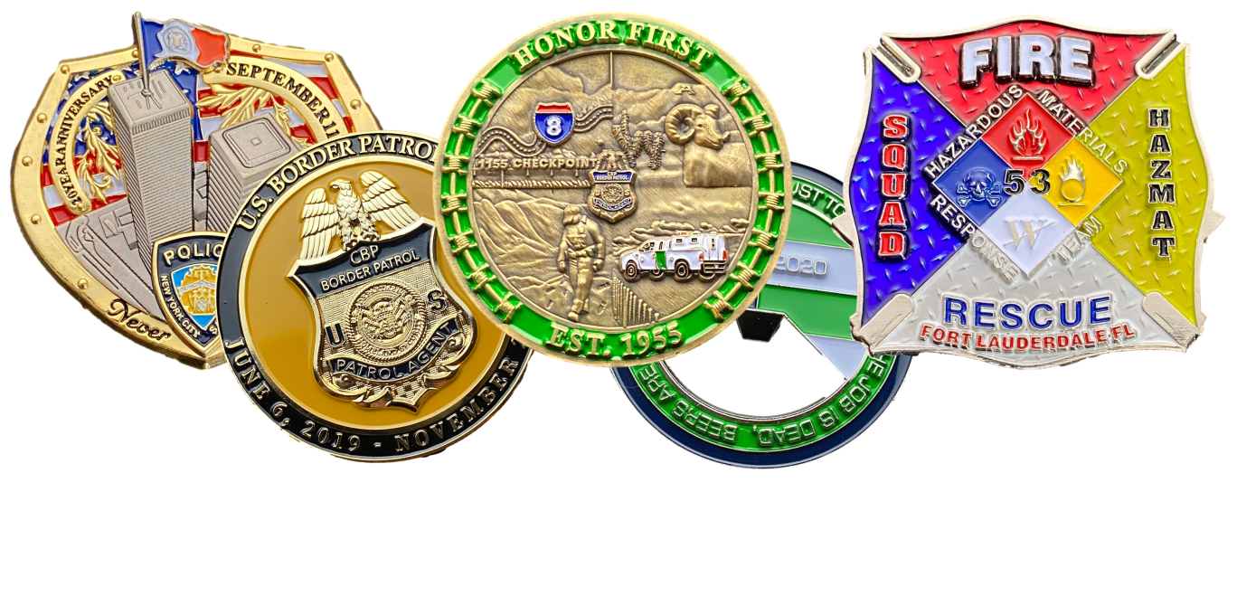 collection of several challenge coins