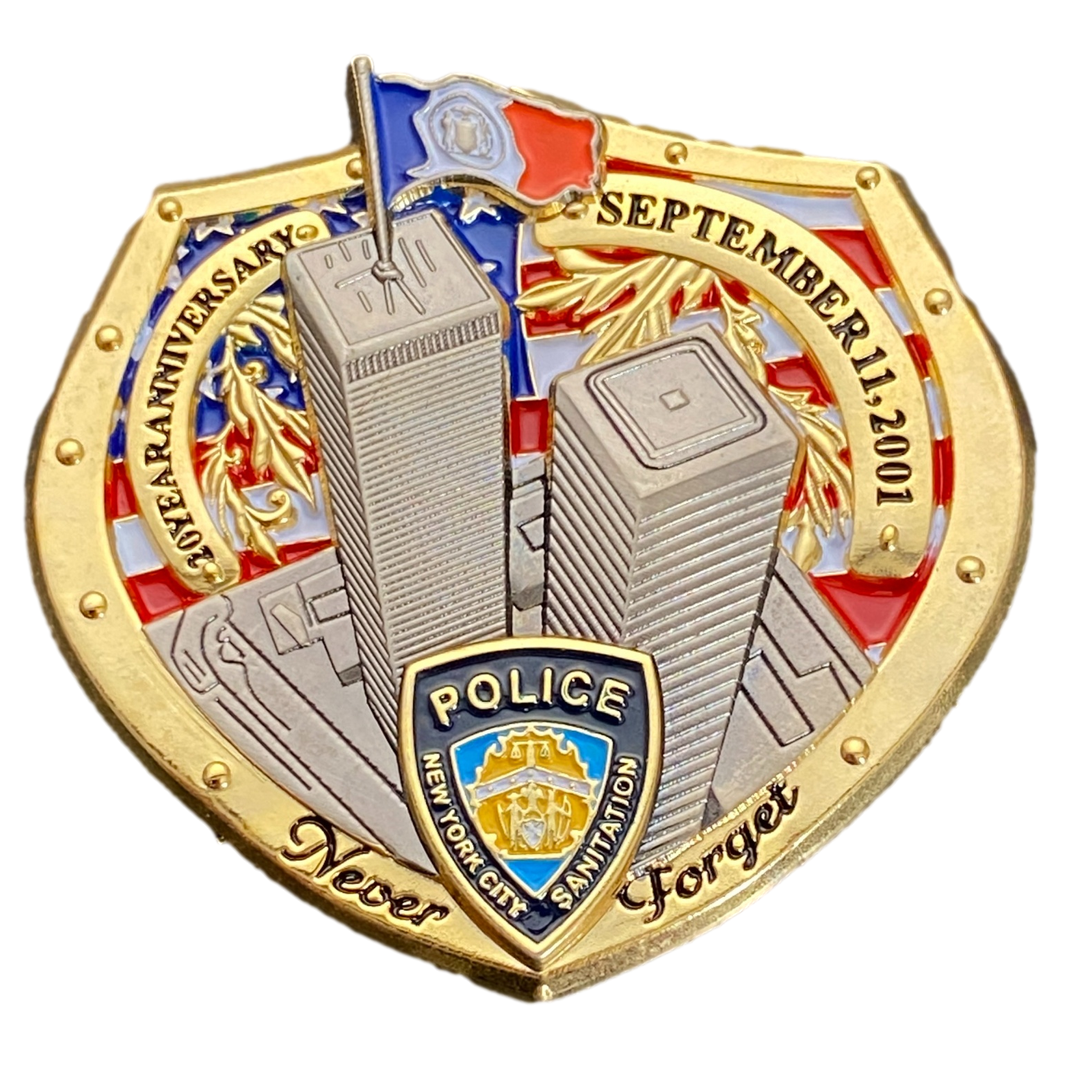 front view of police challenge coin