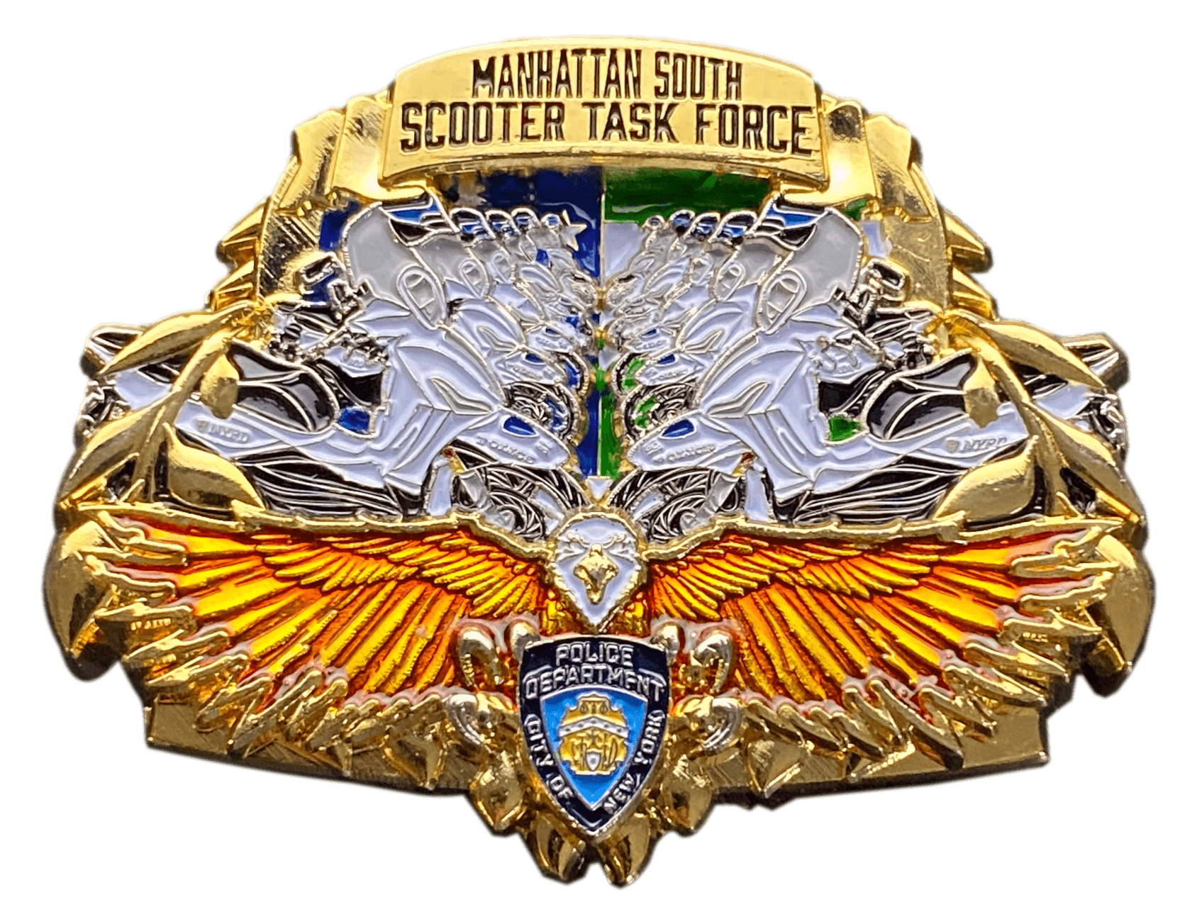 front angle of Task Force coin