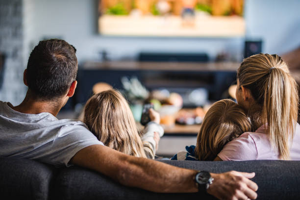 Family with TV Installation