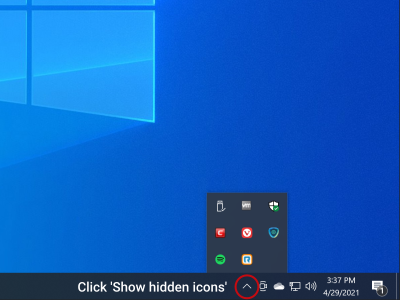 With the client installed, click the 'show hidden icons' button