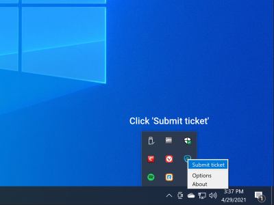 Click 'Submit ticket' from the open dialog box