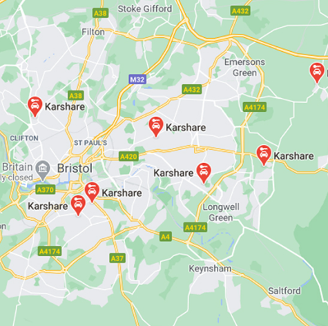 Google Maps showing Karshare cars and vans for car sharing and rentals