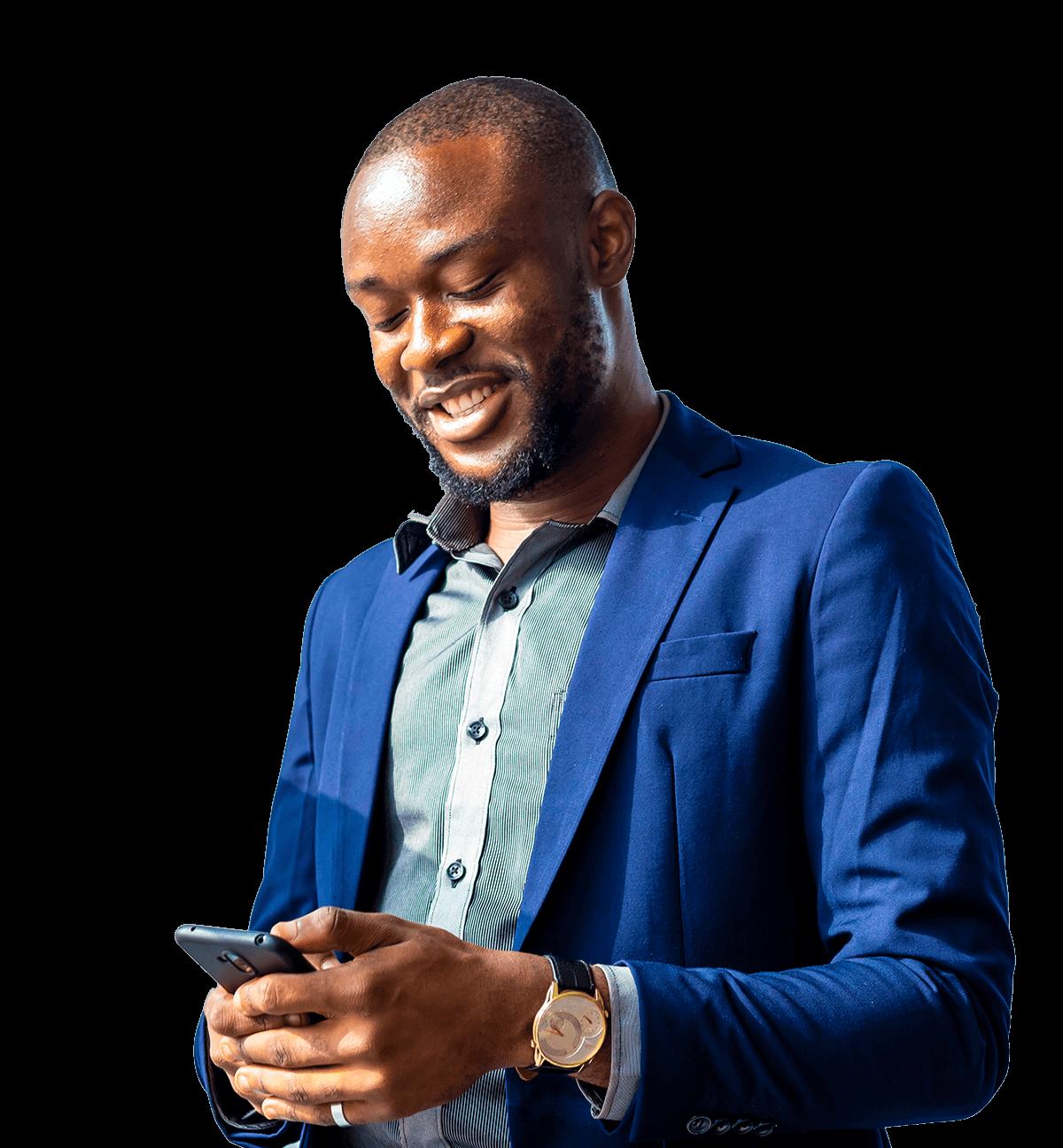 Happy man with phone