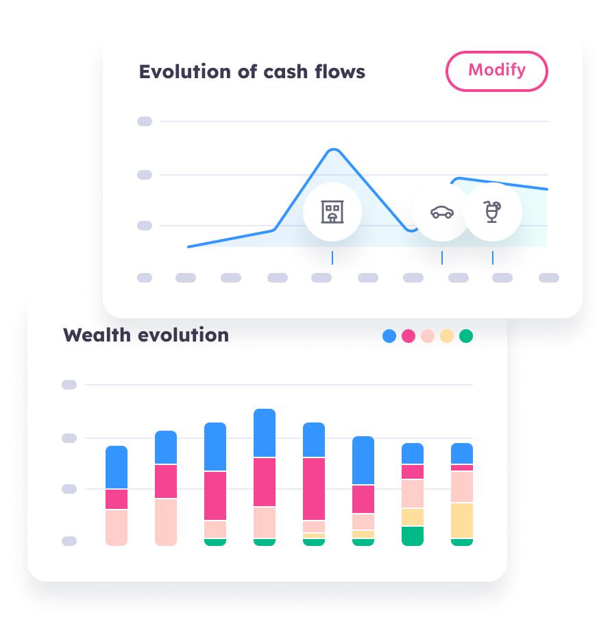 Evolution of cash flows & wealth evolution
