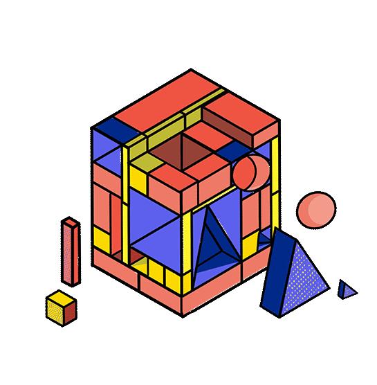 Illustration grâce à un cube de brique de la programmation informatique
