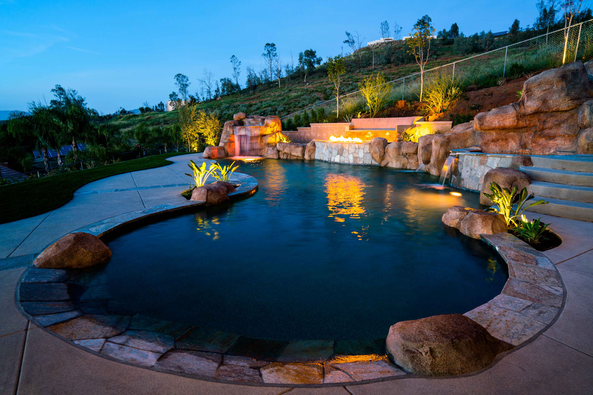 Beach Entry , Faux Rock Grotto & Slide , Fire Features