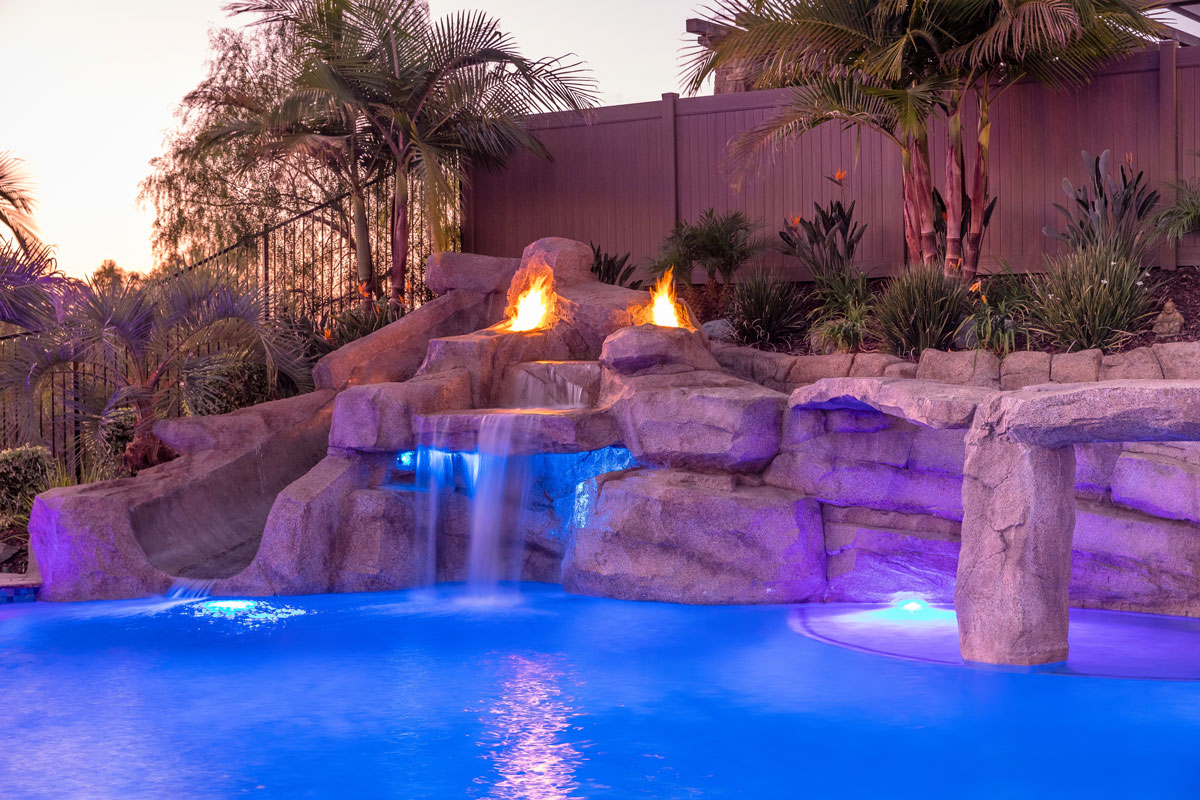 Faux Grotto & Slide , Fire Features