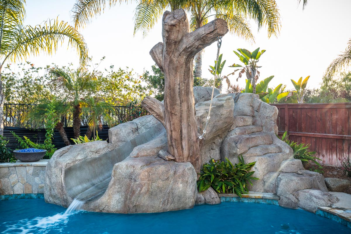 Custom Mosaics , Faux Rock Slide , Steps & Rope Swing