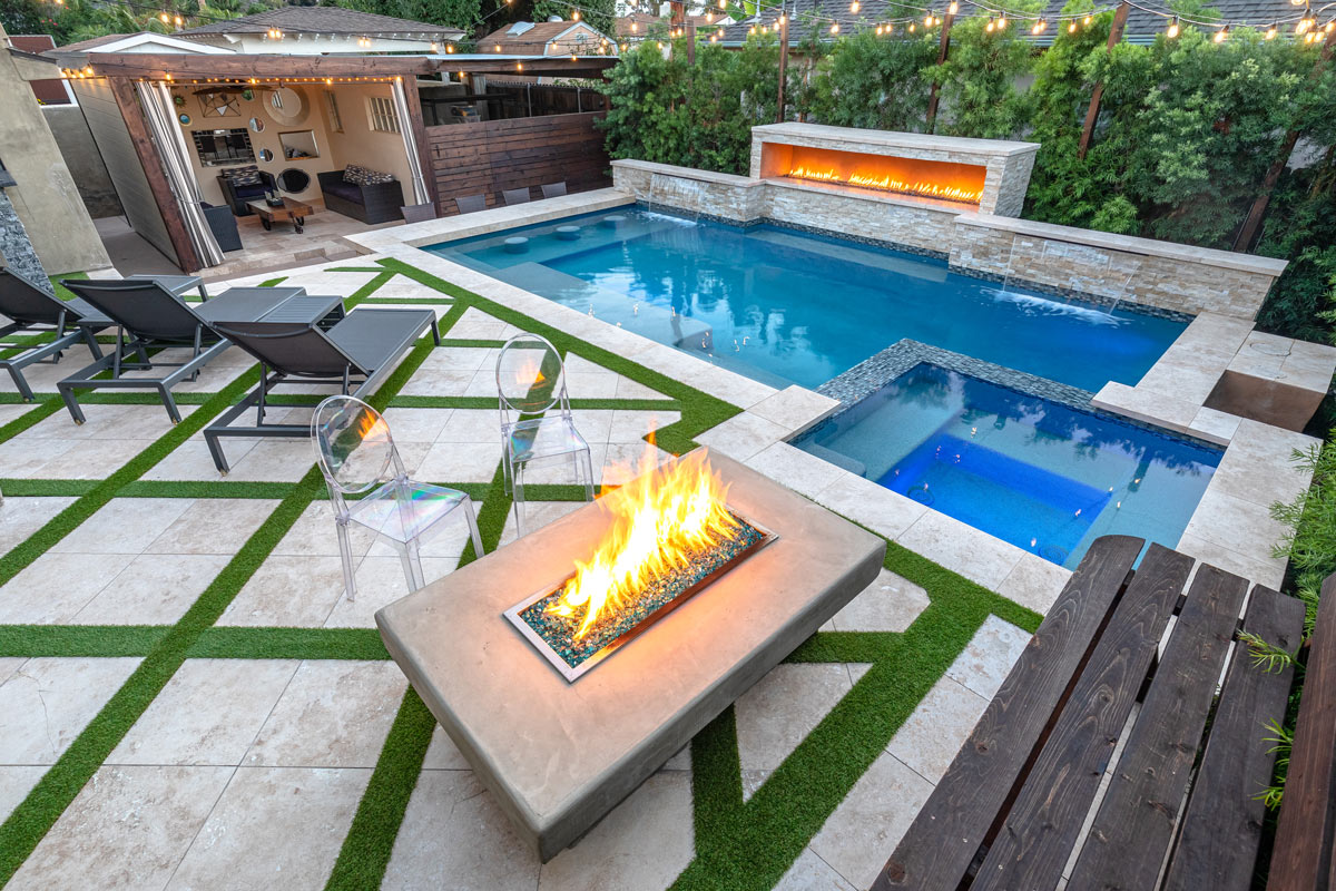Swim Up Bar , In Pool Stools , Sheer Descents , Fire Pit