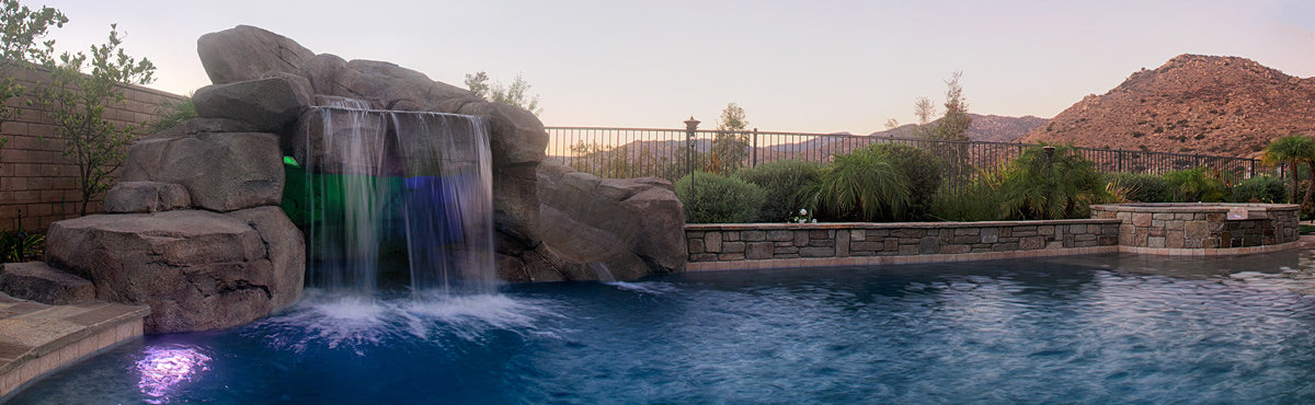 Faux Rock Grotto & Slide , LED Colored Lighting