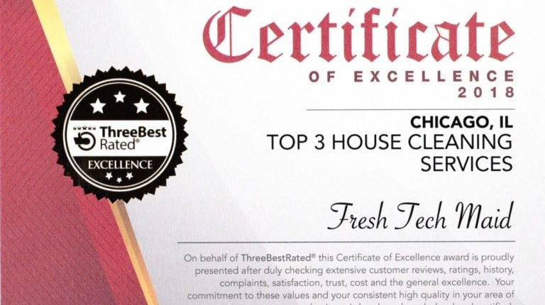 Fresh Tech Maid- Named Top Three Best Rated In Chicago For House Cleaning