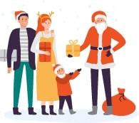 Santa giving presents