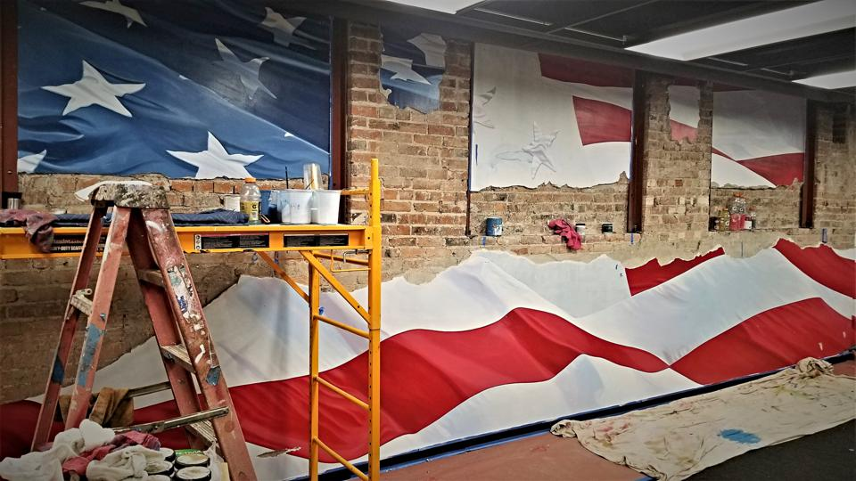 Second-61's American Flag Mural inside of their office.