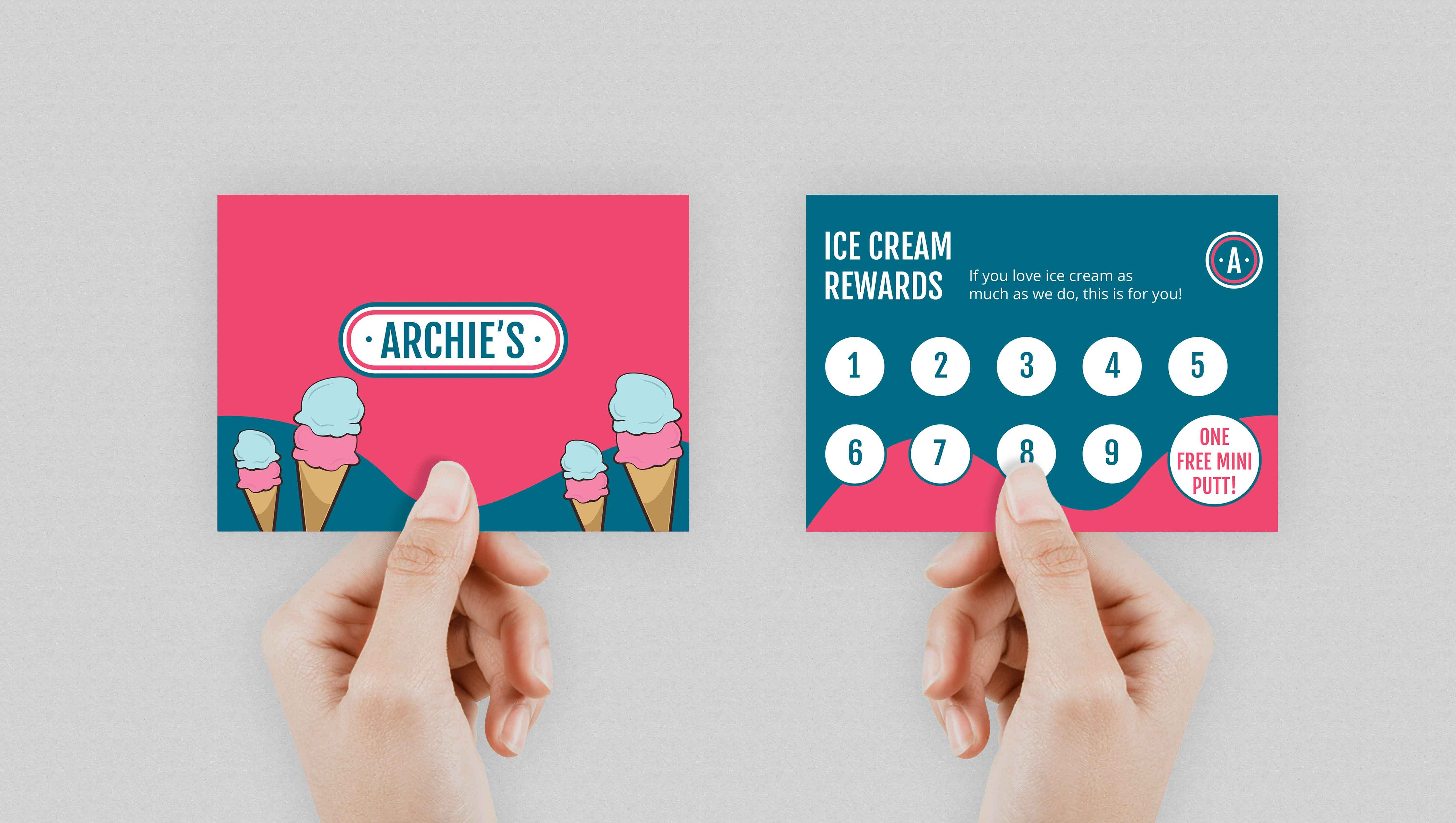 Archie's Ice cream stamp card held by hand