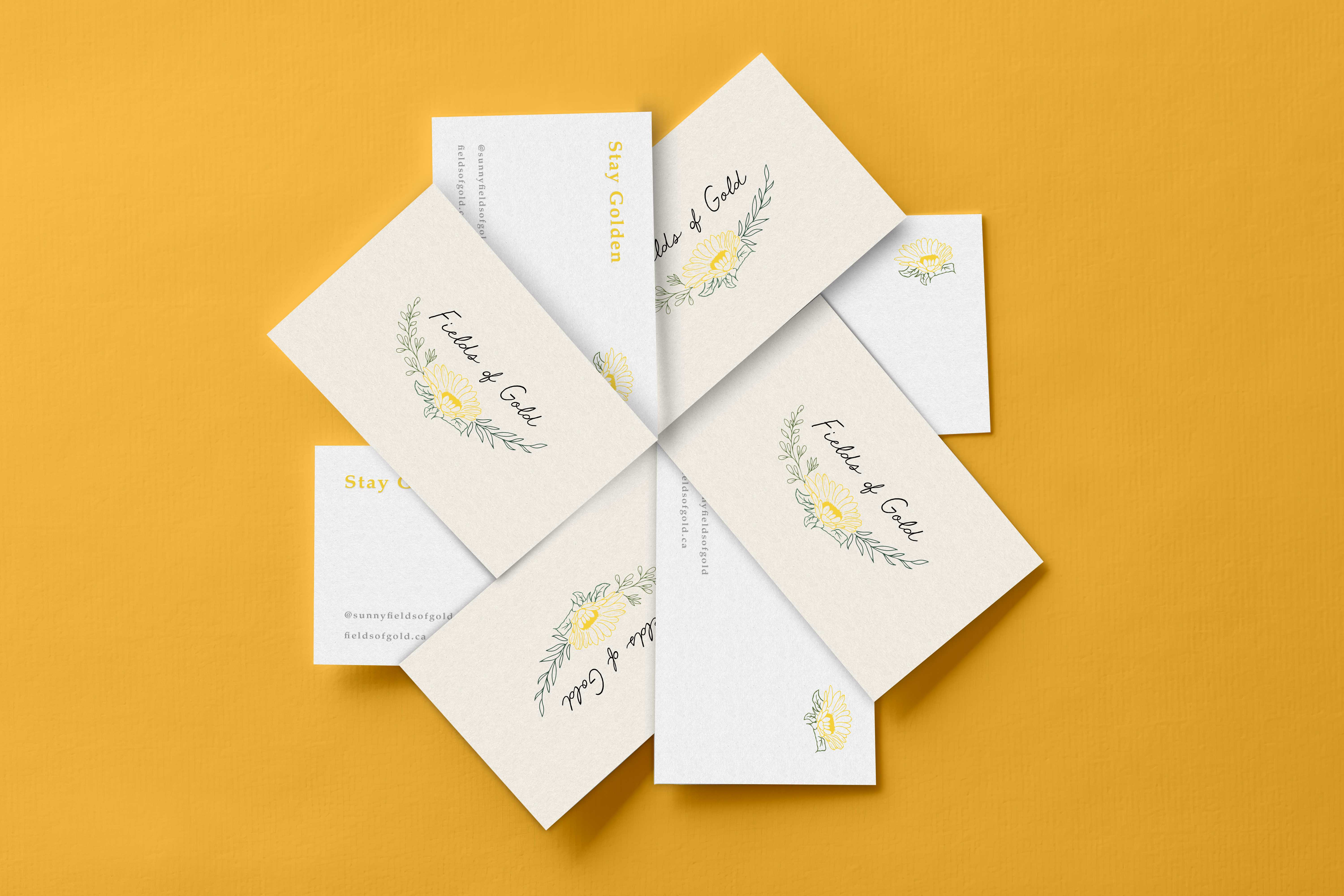 Fields of Gold Business Cards displayed in a flower shape