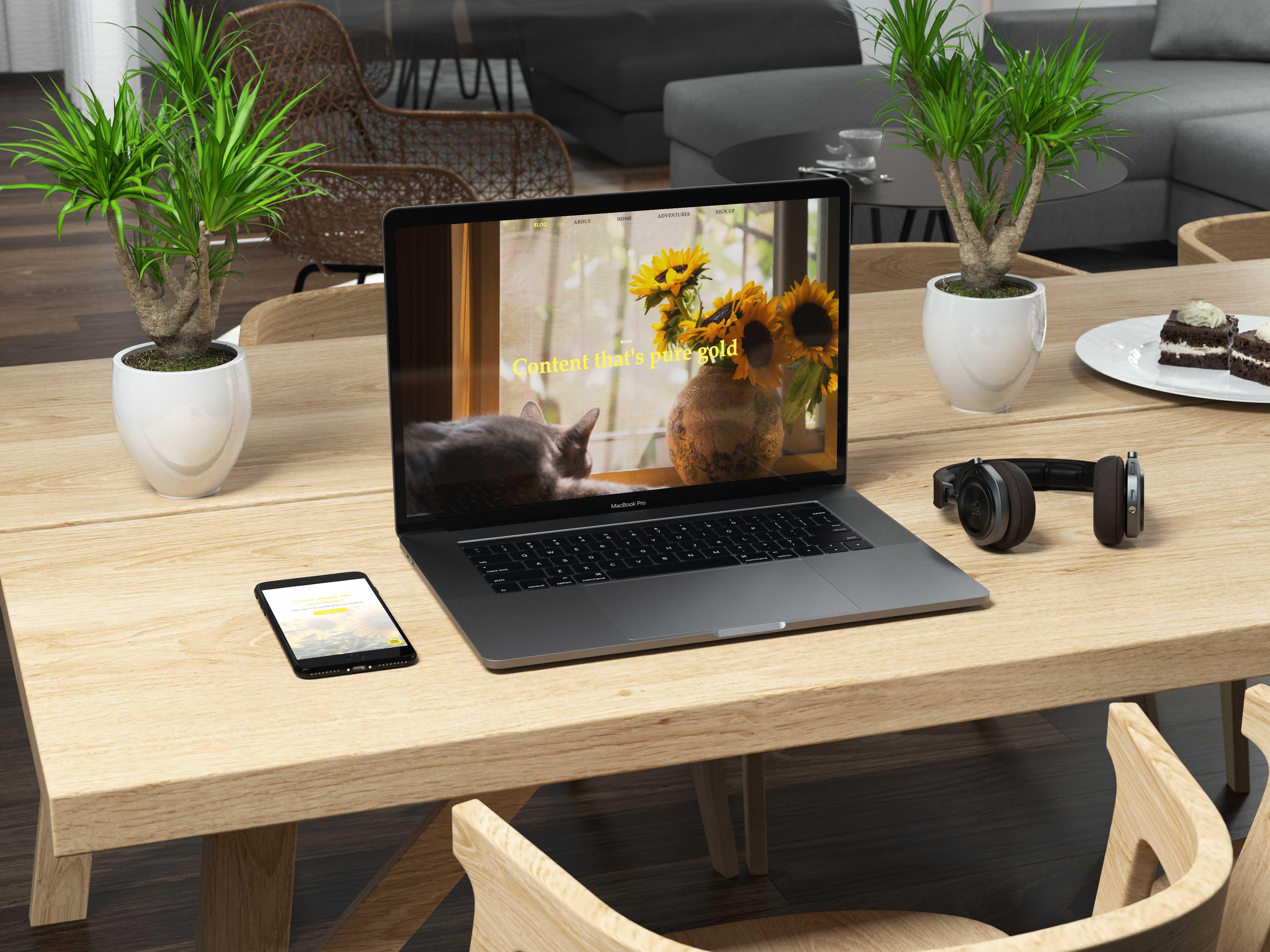Fields of Gold website on a laptop on a desk