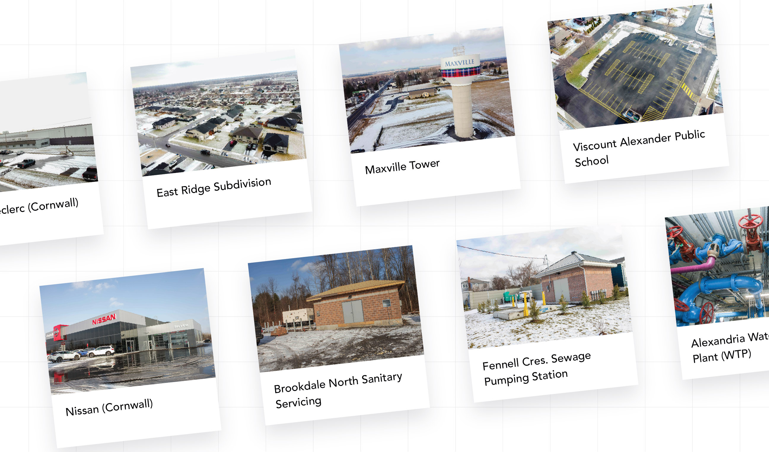 Series of Projects completed by EVB Engineering displayed on cards