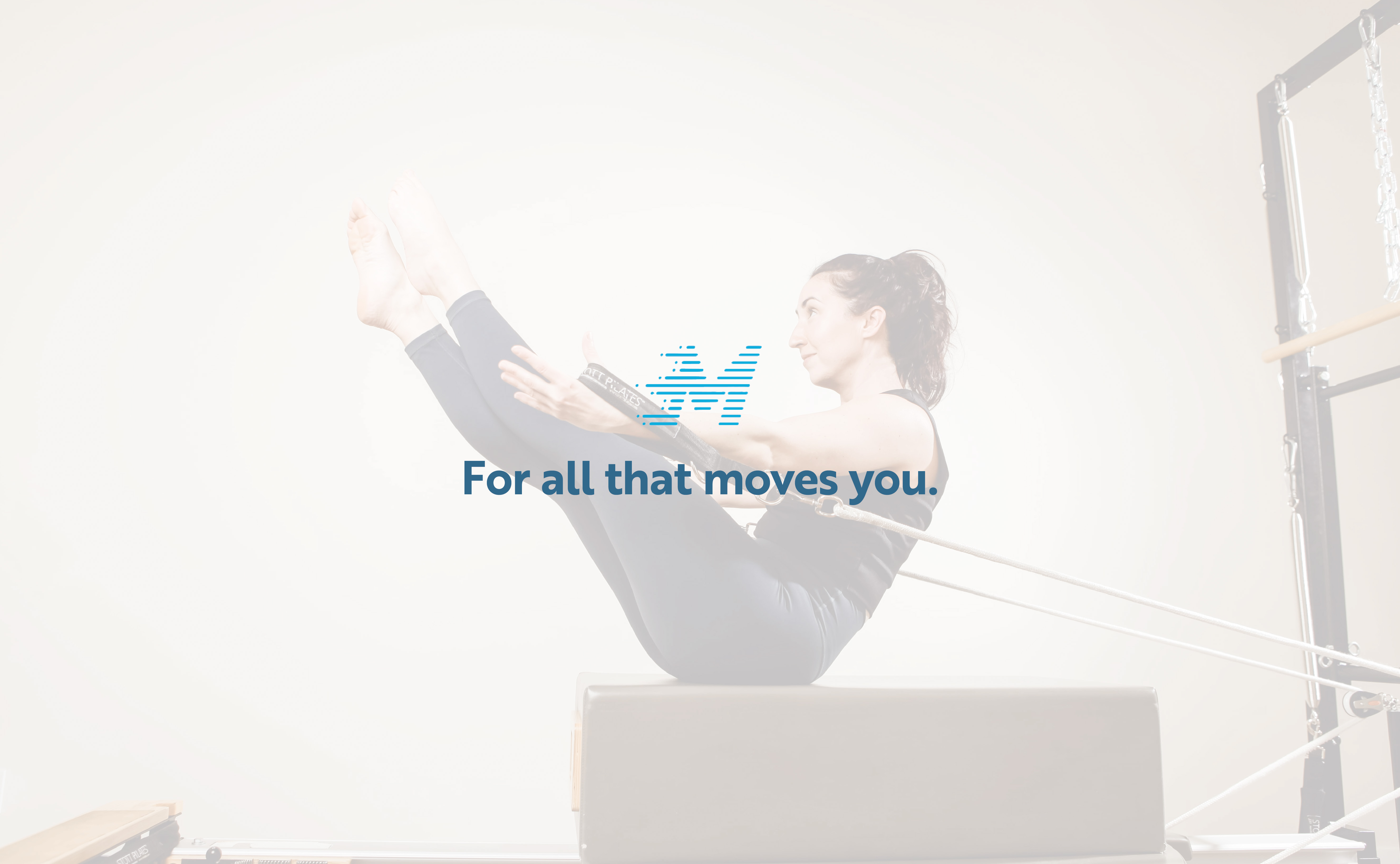 """Photo of Pilates Teacher doing a stretch. Text Overlay with Momentum Physiotherapy Icon and text that reads """"For all that moves you."""""""