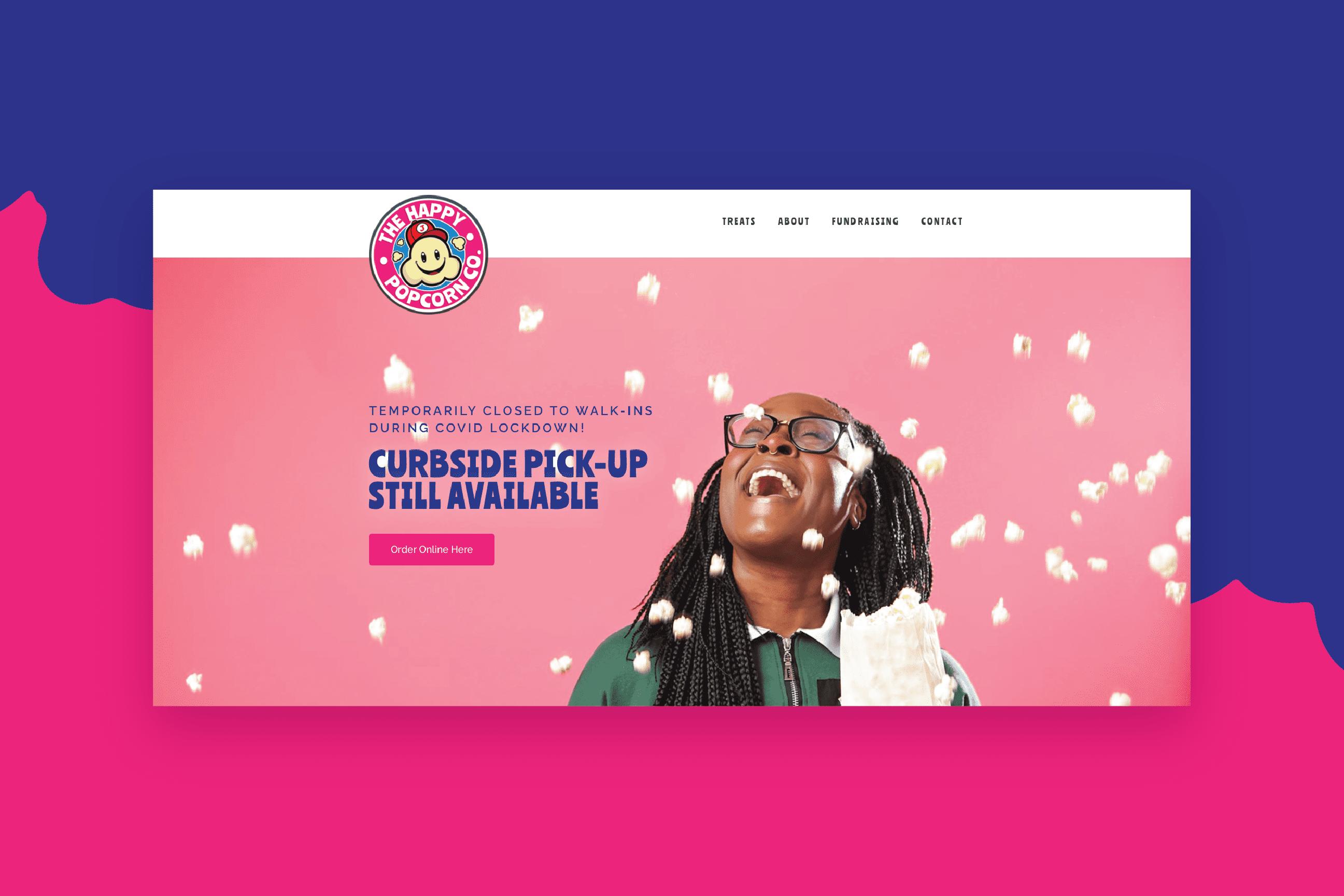 Hero section of The Happy Popcorn Co. website