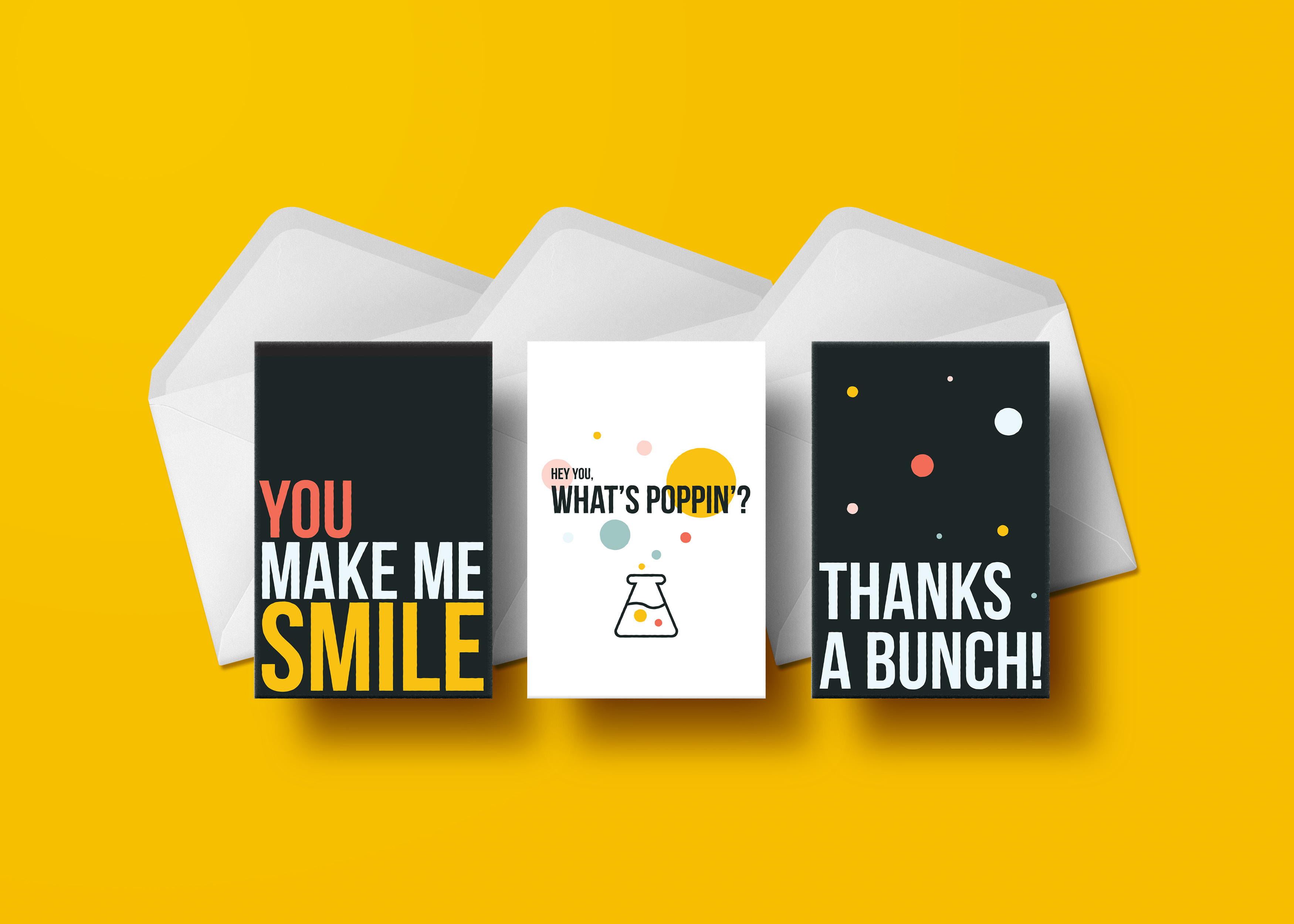 You're making us smile just looking at these cards! Send the perfect little greeting to your favourite peeps and check in to see what they're up to with a note that's sure to make them smile too! Gratitude is an underestimated practice; we encourage you to get on it! All cards are blank inside so you can write your own sentiment and words of encouragement. 3 card assortment per pack.
