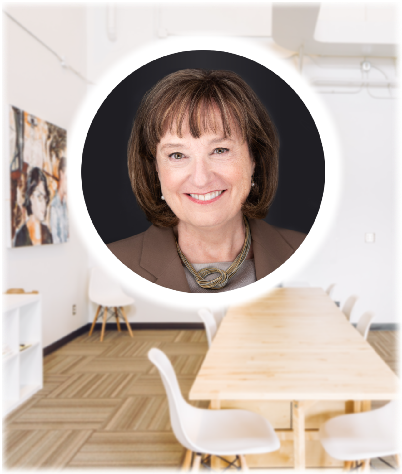 Image of conference table and chairs with an image of Diane Darling.