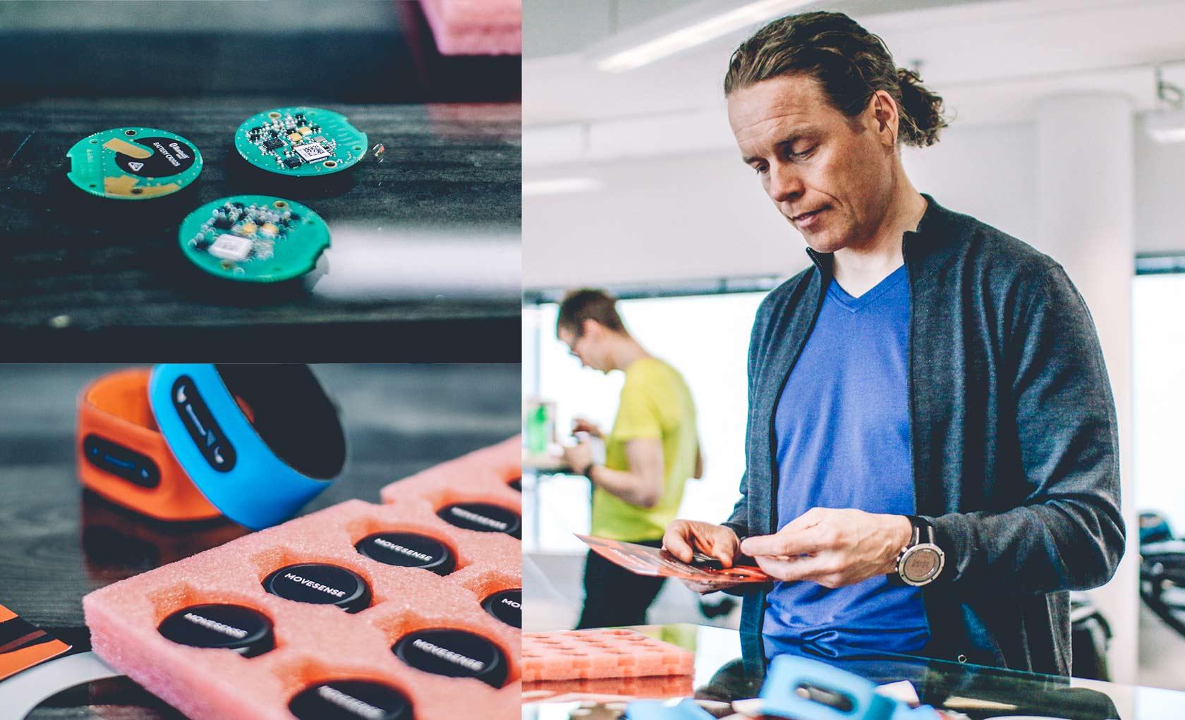 Terho Lahtinen from Suunto shows Movesense sensor prototypes