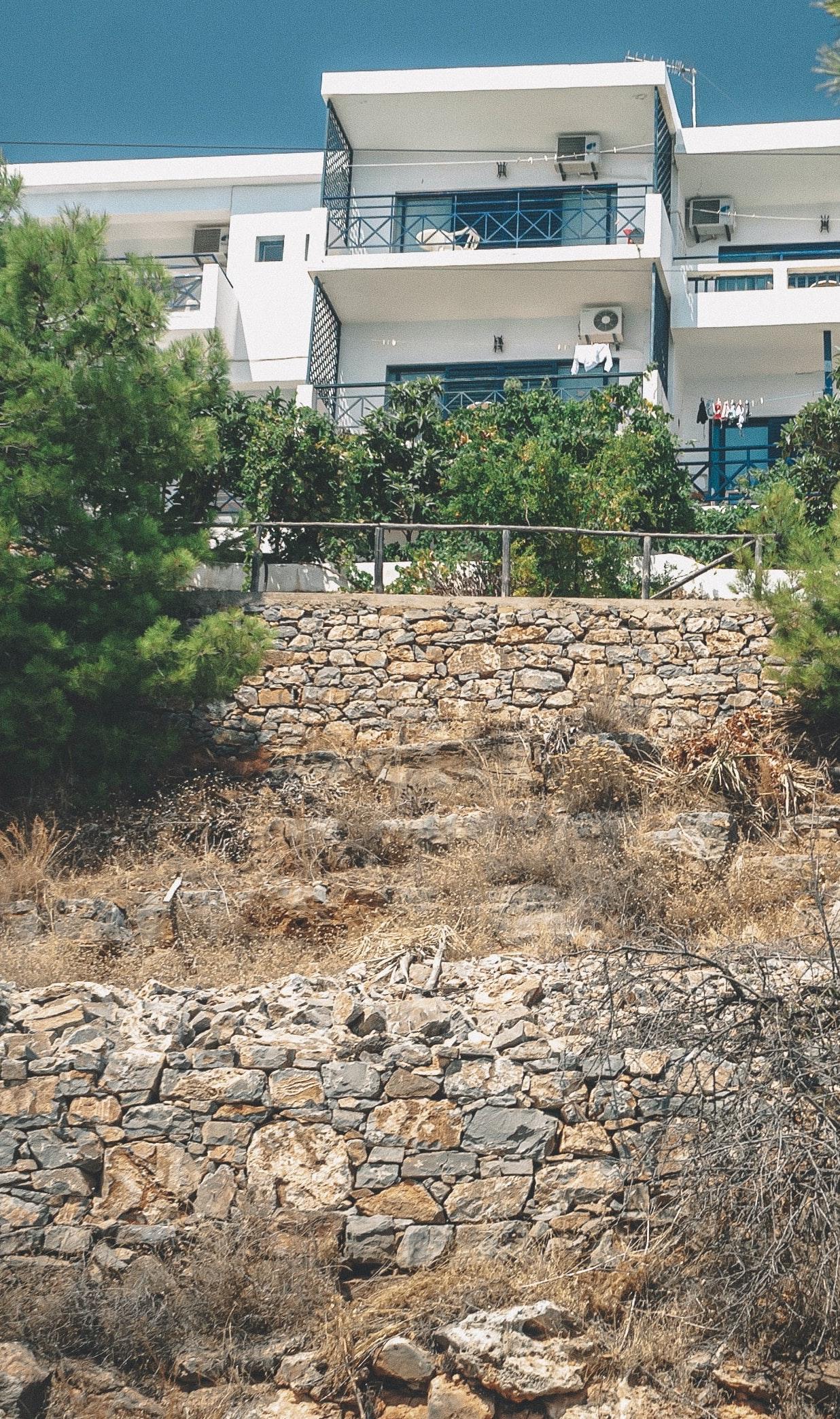 retaining wall below house