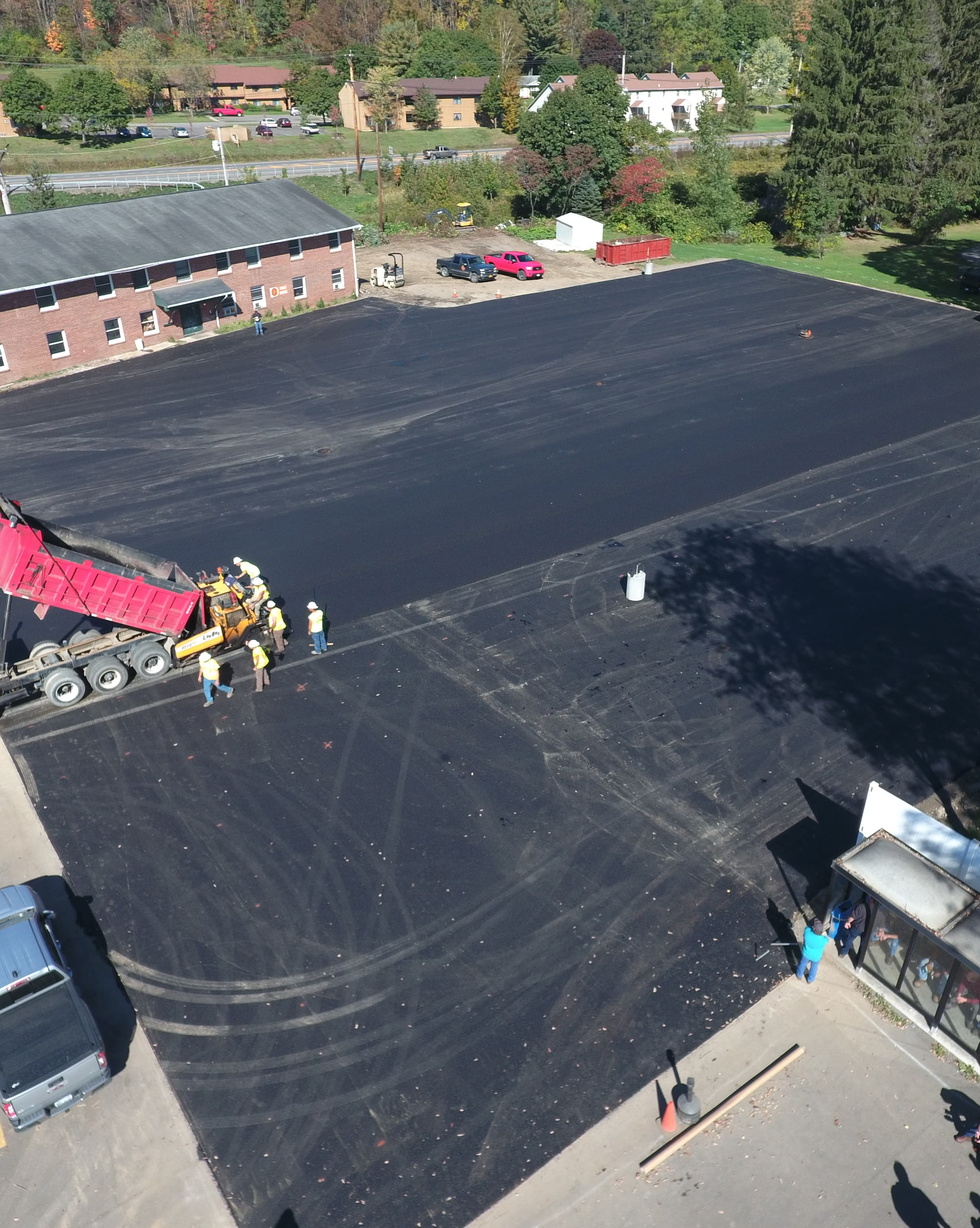 image of parking lot being paved