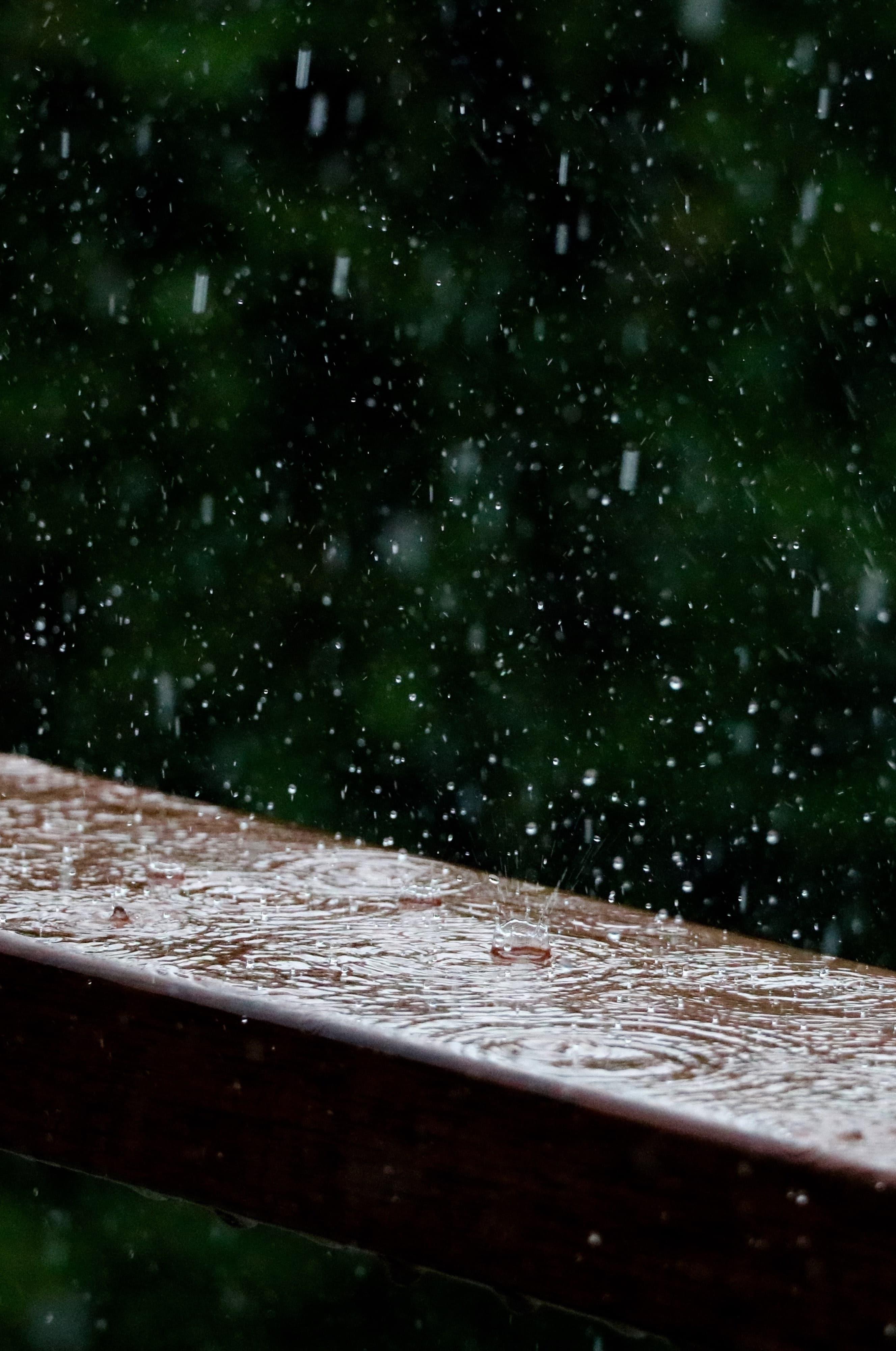 rain hitting rail