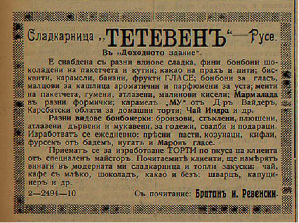 Сладкарница Тетевен Статия