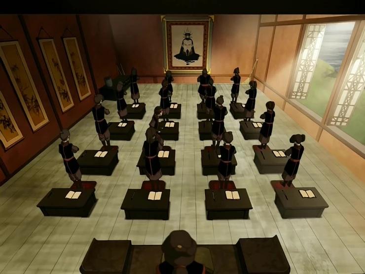 Een afbeelding van de jeugdserie Avatar The Last Airbender, een klas van de vuurnatie staat samen te bidden.