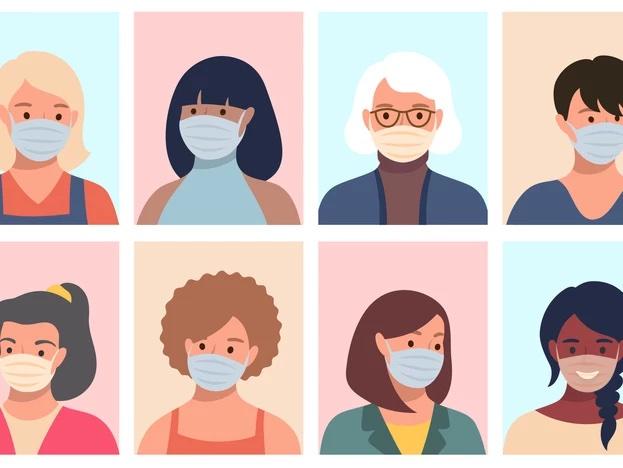 Een illustratie van verschillende mensen met mondmaskers op