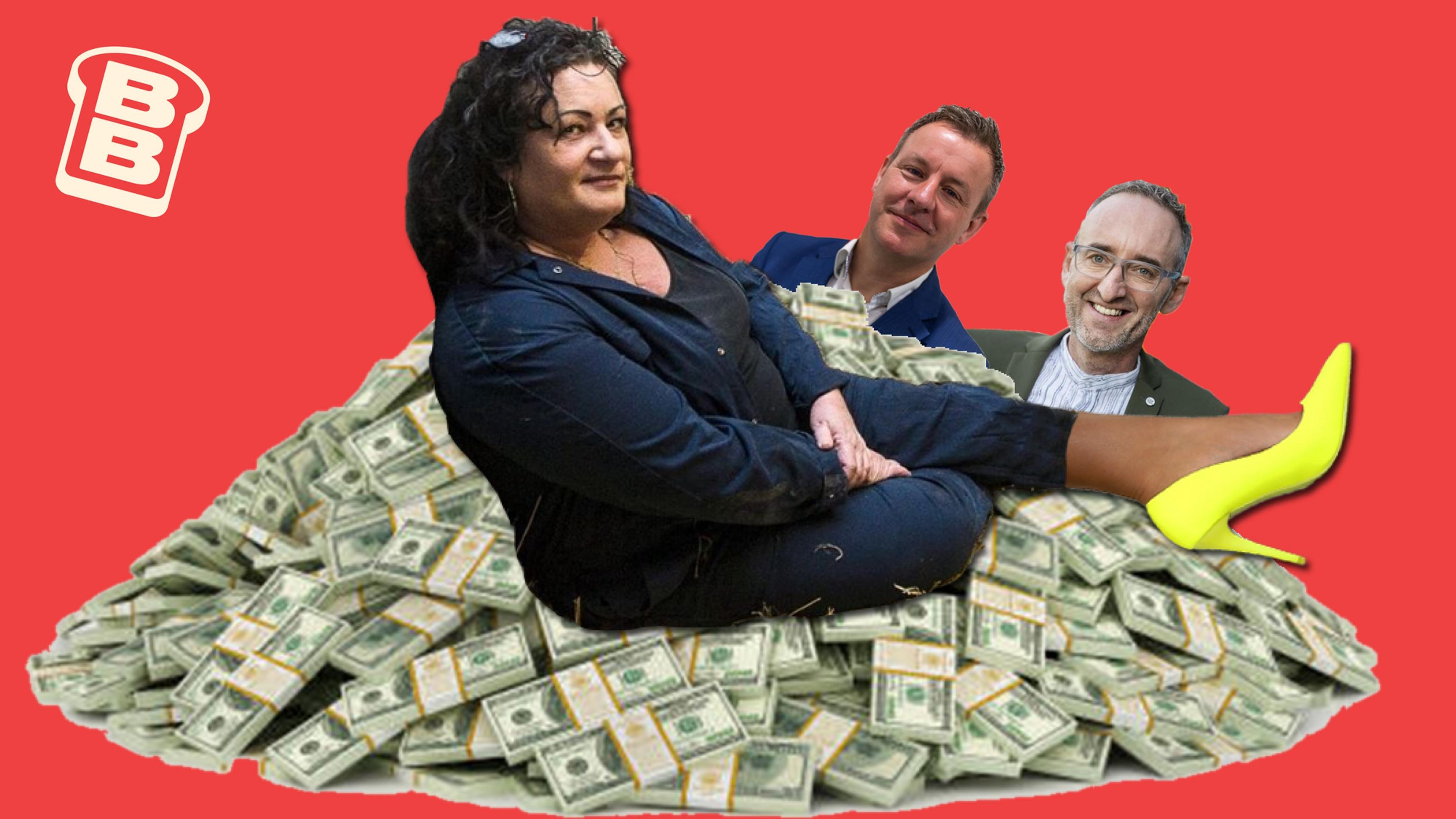 Gephotoshopte foto van Caroline van der Plas op een berg geld, met daar achter haar marketingteam