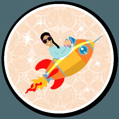 woman in a rocket