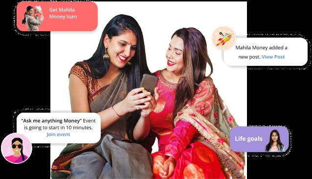 Two women using Mahila Money
