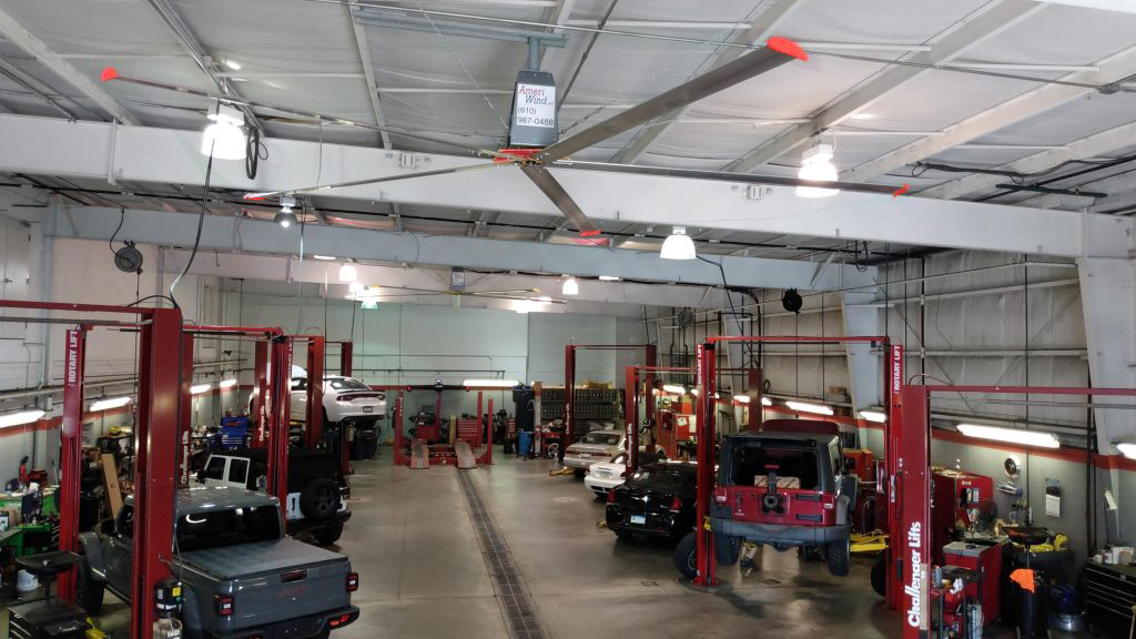 Industrial Ceiling Fans for auto service and repair