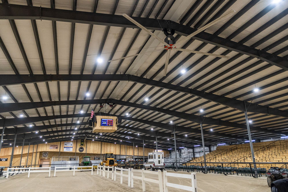 Commercial ceiling fans in an arena