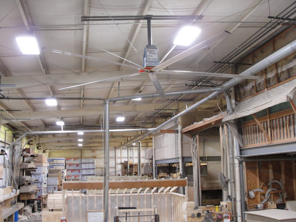 Commercial ceiling fan in a manufacturing environment
