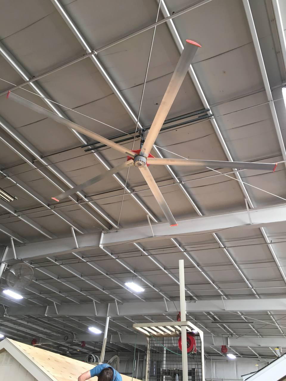 Ceiling fans in a shed building shop