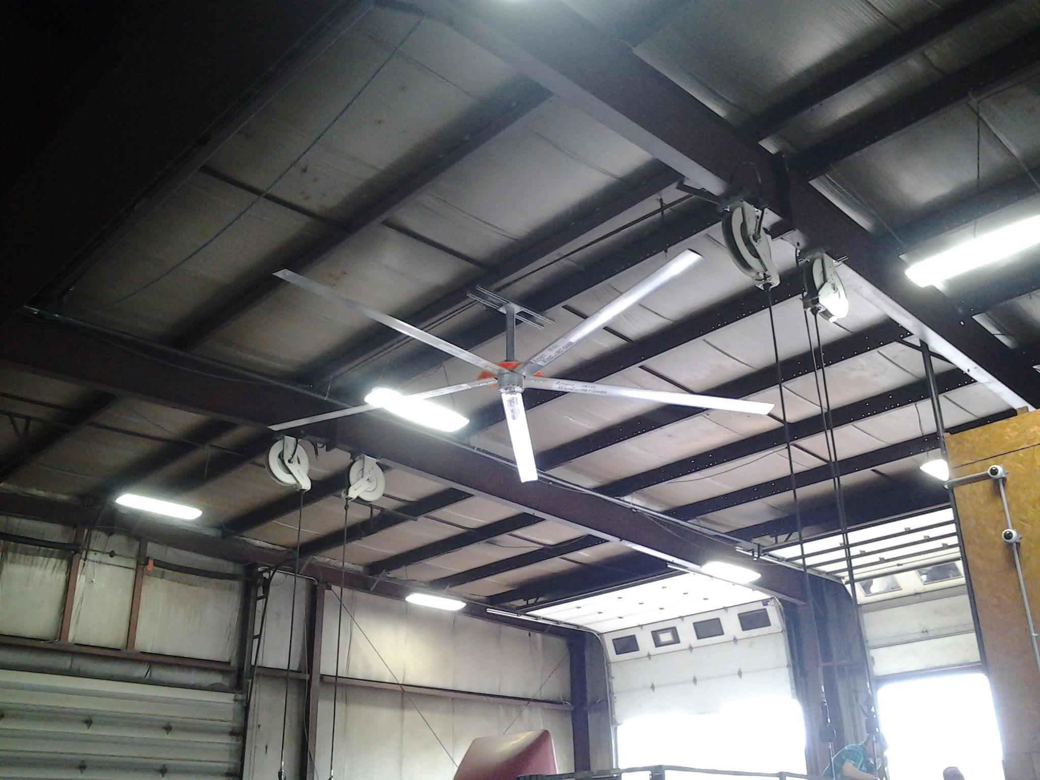 A ceiling fan in a truck shop