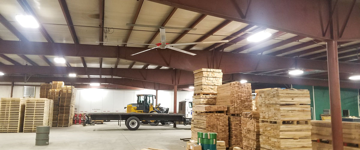 A ceiling fan in a machinery storage area