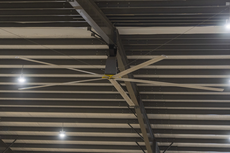 A big industrial ceiling fan