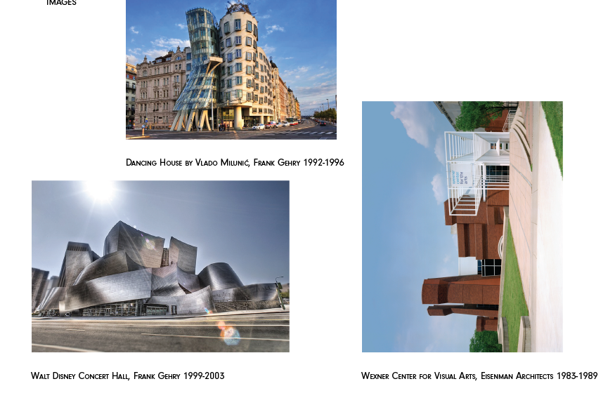"""Booklet """"Images"""" section. Photos of movement in architecture across the page."""
