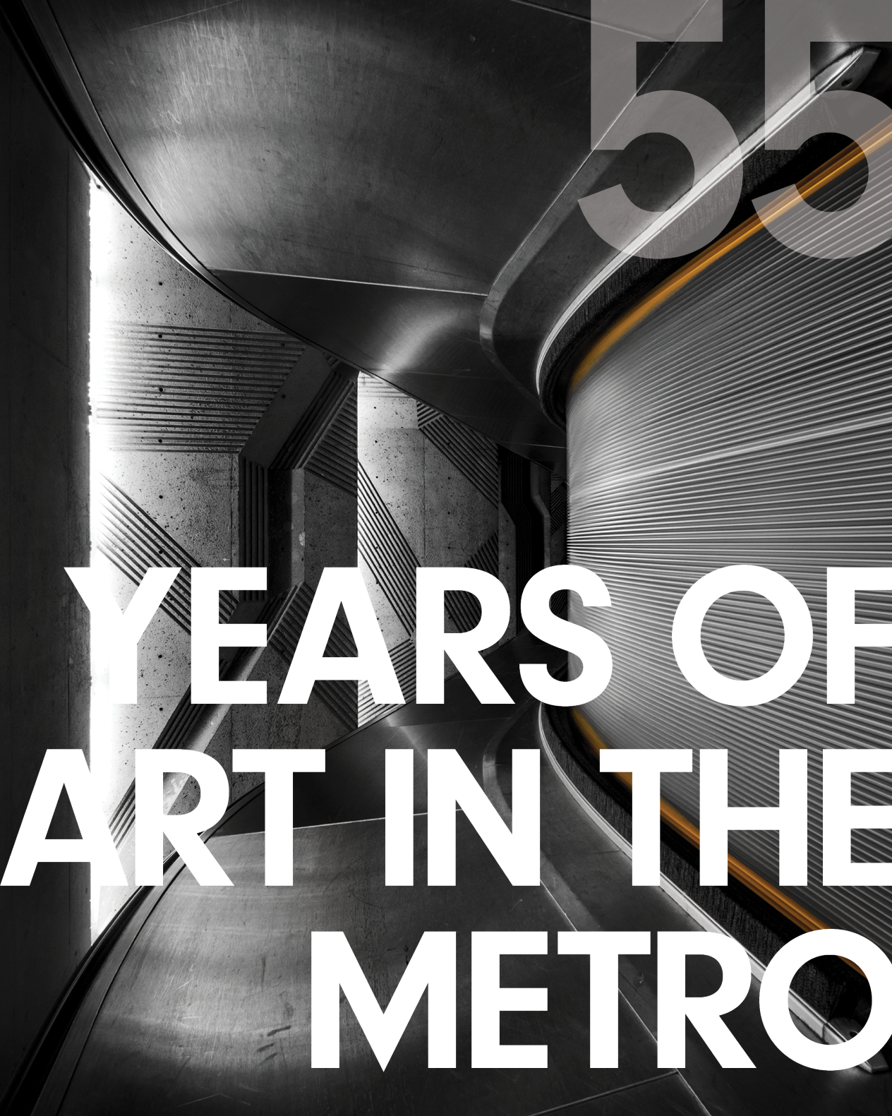 """Front cover design of Montréal Metro Art Catalogue. Photo of an escalator by Christopher Forsyth with text reading """"55 Years of art in the metro"""" on top."""