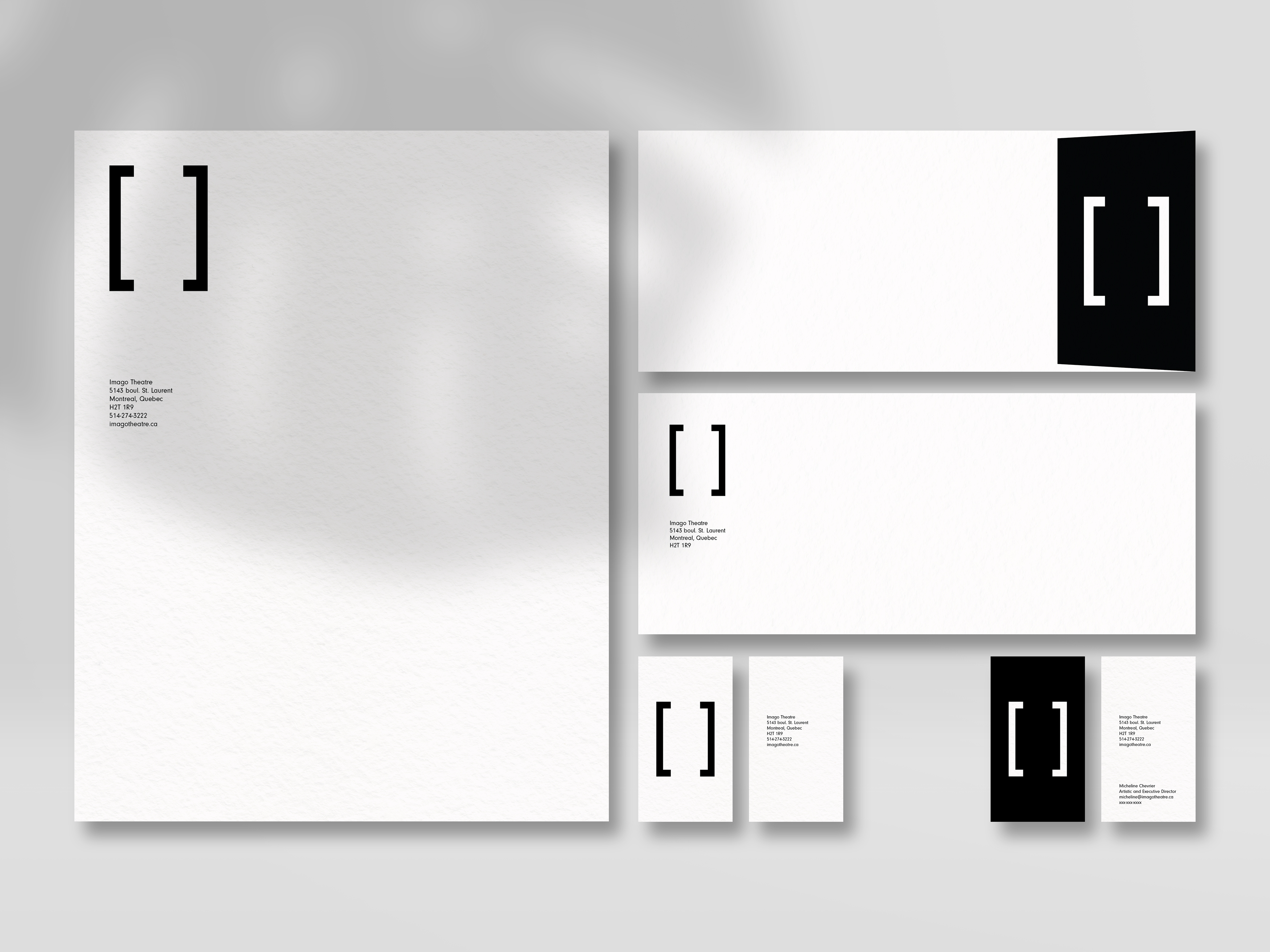 Imago stationery mockup with a shadow in the top left corner.