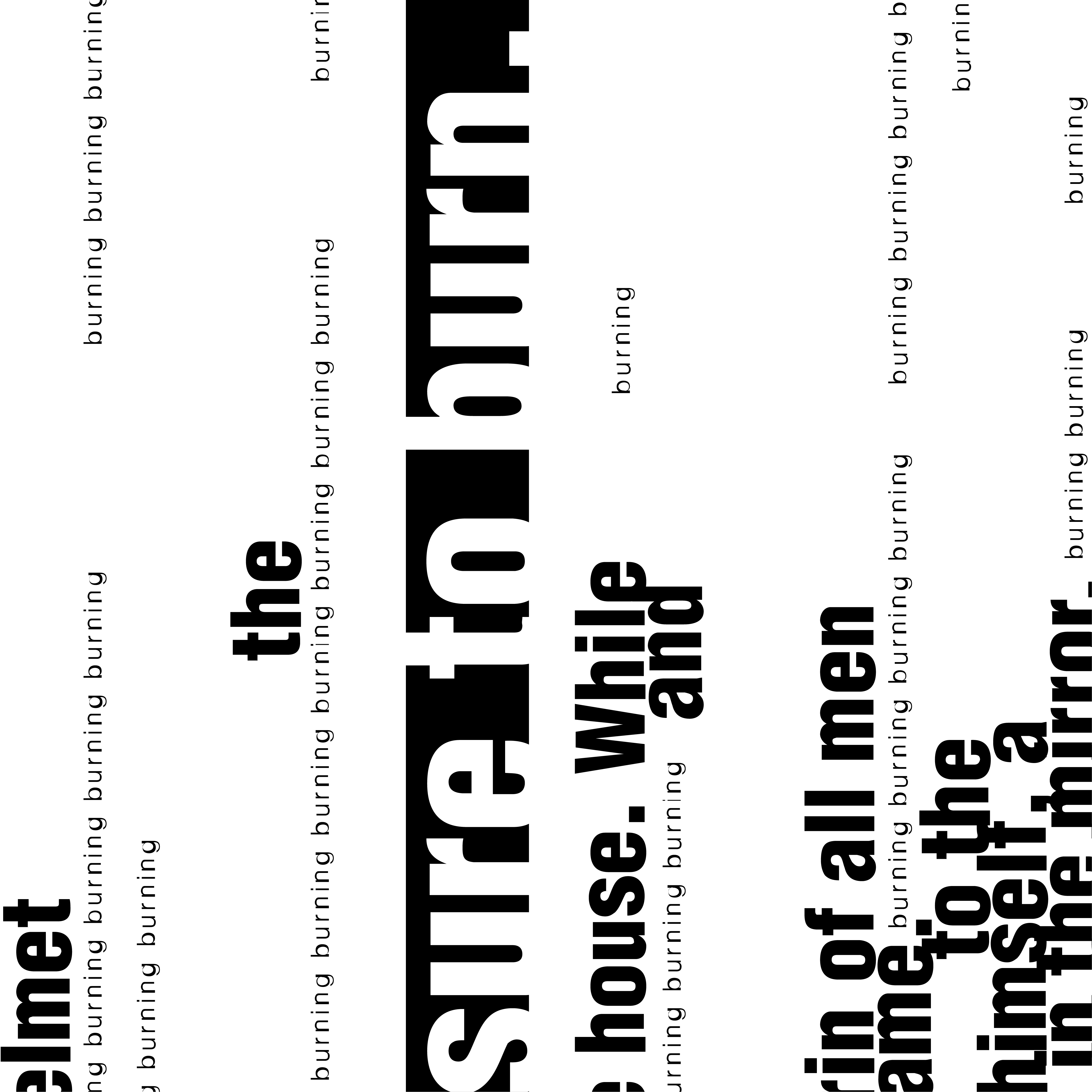 Close up of Fahrenheit 451 Book Cover Design. Text from the first page written at a 90 degree angle.