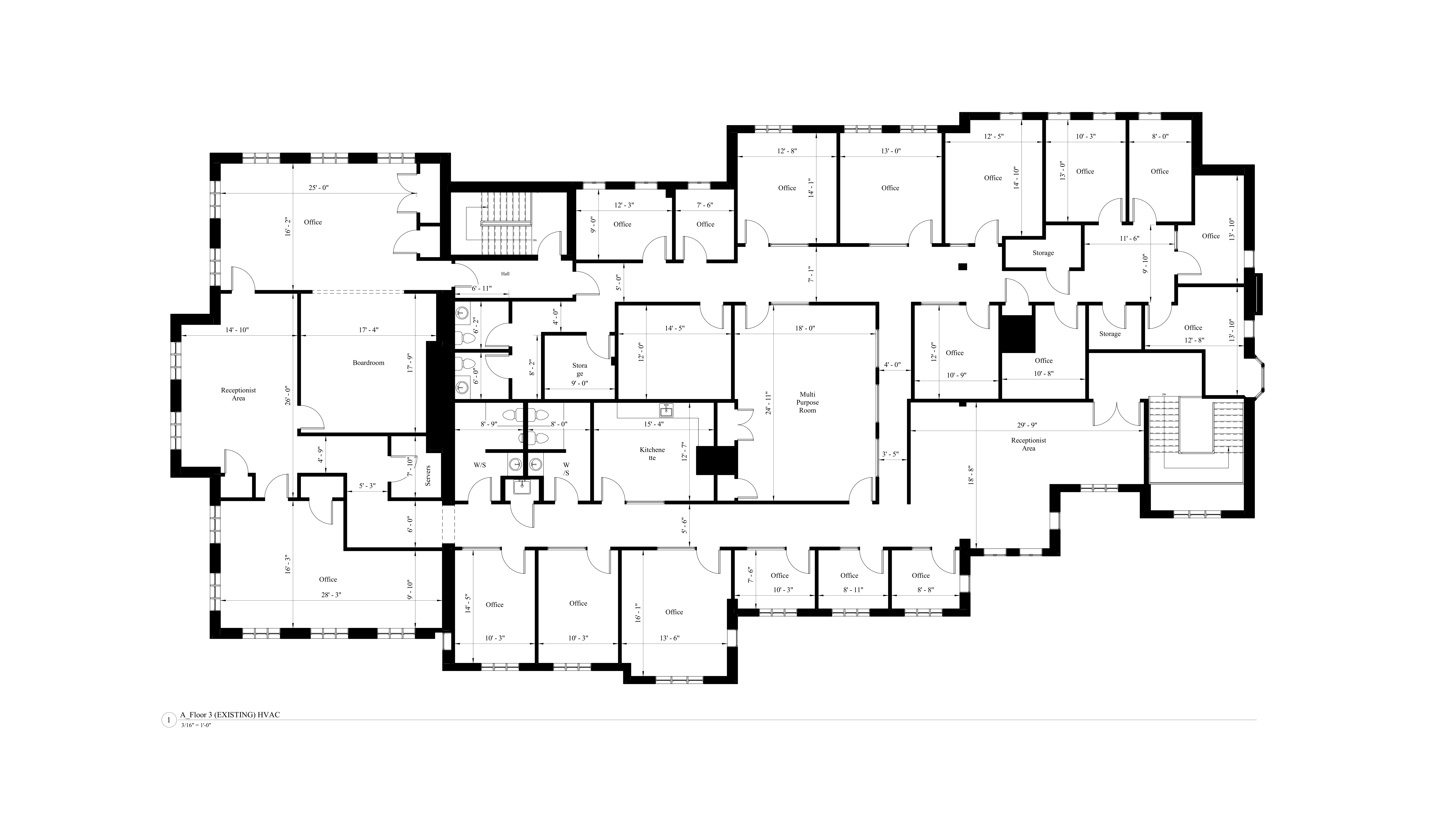 AutoCad drawing of the existing floor plan model for the third level of the commercial building.