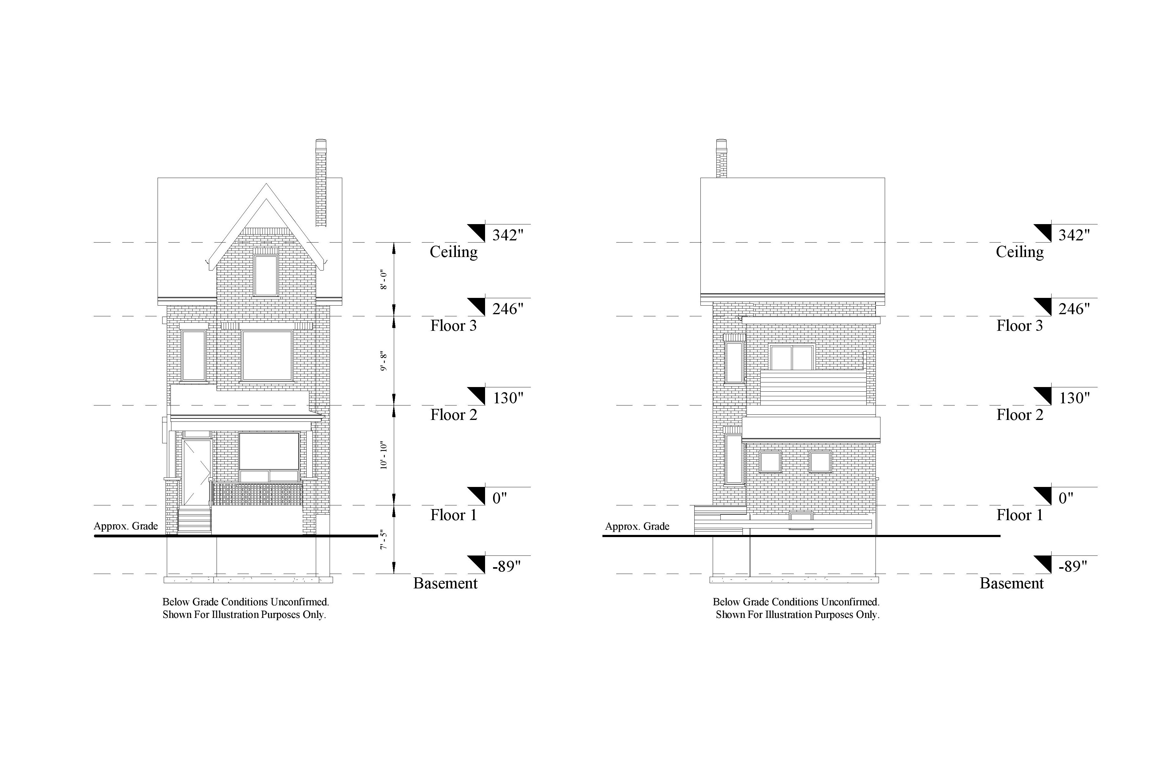 two 2D Scan to CAD elevation models of the front and rear view of a three level residential house.